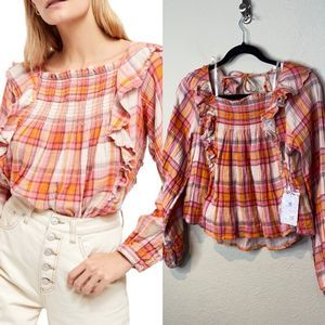 We the Free  Sienna Plaid Pullover Top